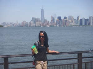 Manhattan skyline from the Liberty Island. The day was burning hot. Ice cold lemonade was a real treat