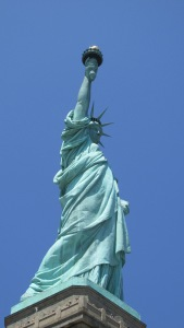 Side of the Statue of Liberty...one leg is ahead of the other, signifying moving forward.