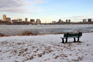 An empty bench facing the Charles River and the bridge that I often ran across in Boston. I imagine there was a loving couple sitting on the bench, watching the seagulls fly high into the sky on a warm, sunny day...now it's empty on a cold Winter's day.