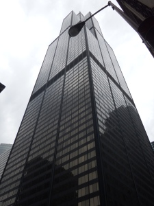 Willis Tower, previously known as the Sears Tower, at 1,450 feet. It has 110 floors. It was the world's tallest building until 1996, when it was surpassed by the Petronas Twin Towers. Cool :)