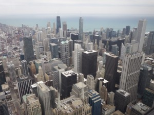 The views of Chicago from one of the glass boxes